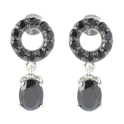 Pinctore Sterling Silver 2.8Ctw Black Spinel Drop & Dangle Earrings