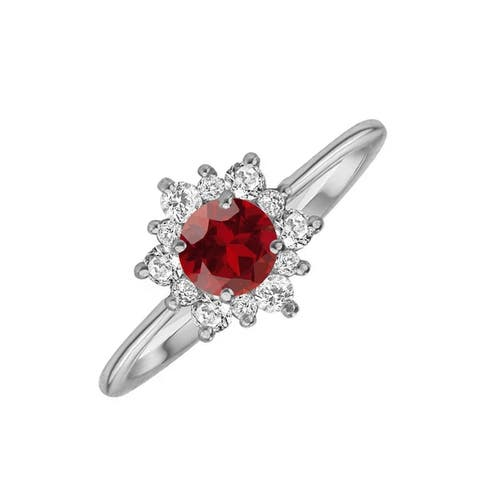V3 Jewelry 925 Sterling Silver with Natural Garnet and White Topaz Flower Ring for Women