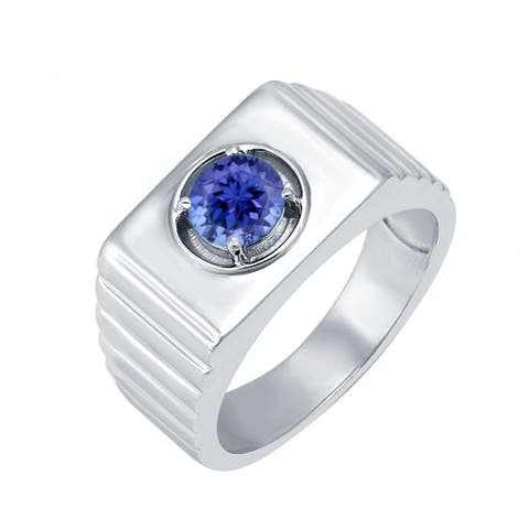 V3 Jewelry 925 Sterling Silver with 9/10 CTTW Natural Tanzanite Solitaire Ring for Men's