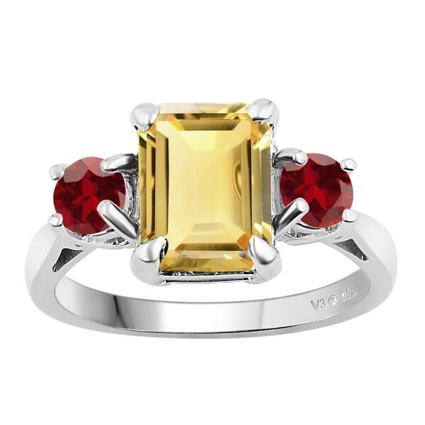 3ct Genuine Red Citrine Gemstone 925 Sterling Silver Wedding Engagement Ring