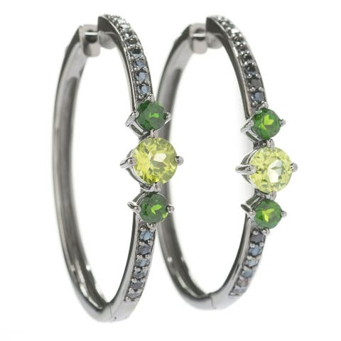 Pinctore Sterling Silver 1.5' Round Peridot, chrome Diopside & Black Spinel Hoop Earrings