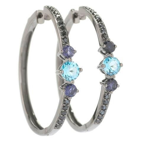 Pinctore Sterling Silver 1.5' Round Blue Topaz, Iolite & Black Spinel Hoop Earrings