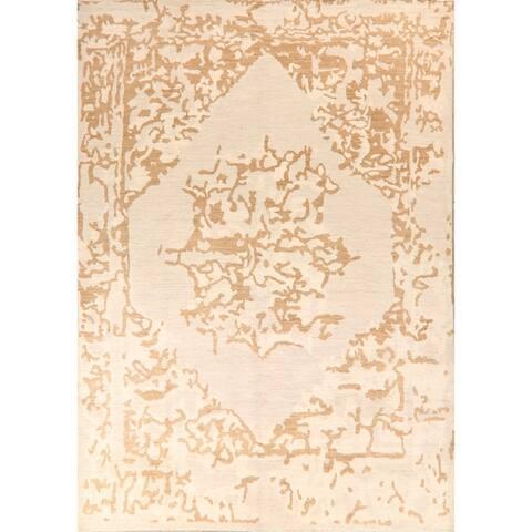 "Geometric Oushak Turkish Ivory Living Room Area Rug Handmade Carpet - 8'9"" x 12'2"""