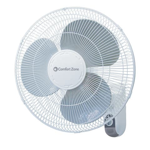 Comfort Zone CZ16W Oscillating 16-inch 3-Speed Wall-Mount Fan White with Adjustable Tilt