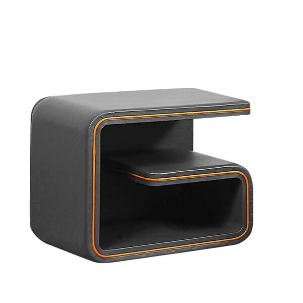 Modern Contemporary Upholstered Nightstand, Vinyl In Grey