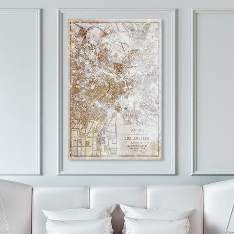 Oliver Gal Maps and Flags Wall Art Canvas Prints 'Dusty Gold Los Angeles Map' US Cities Maps - Gold, White
