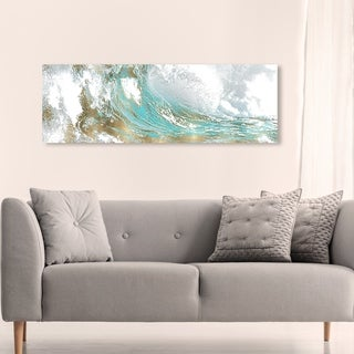 Oliver Gal Abstract Wall Art Canvas Prints 'Wave in a Moment Aqua' Paint - Blue, Gold