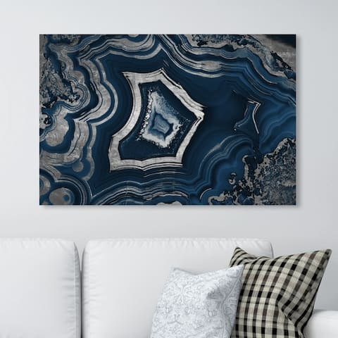 Oliver Gal Abstract Wall Art Canvas Prints 'Dreaming About You Geode Navy' Crystals - Blue, Gray