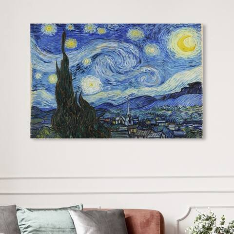 Oliver Gal Classic and Figurative Wall Art Canvas Prints 'Van Gogh - Starry Night' Impressionism - Blue, Black
