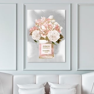 Oliver Gal Fashion and Glam Wall Art Canvas Prints 'Floral Perfume Peonies Tall' Perfumes - Pink, Gray