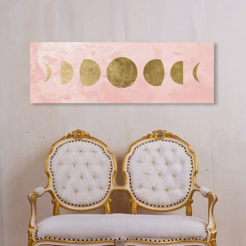Oliver Gal Astronomy and Space Wall Art Canvas Prints 'Blush Moon Phases' Moons Phases - Gold, Pink