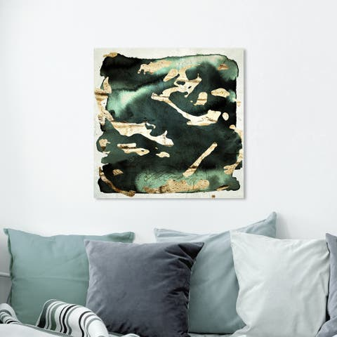 Oliver Gal Abstract Wall Art Canvas Prints 'Sophisticated Jade' Watercolor - Green, Gold