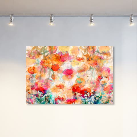 Oliver Gal Abstract Wall Art Canvas Prints 'Abstract Bloom Colorful' Flowers - Orange, White
