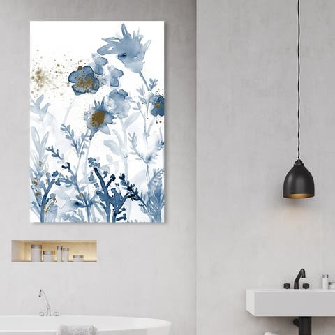 Oliver Gal Floral and Botanical Wall Art Canvas Prints 'Azul Floral Splashes Gold III' Florals - Blue, Gold