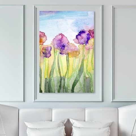 Oliver Gal Abstract Wall Art Canvas Prints 'Watercolor Floral Field II' Flowers - Green, Purple