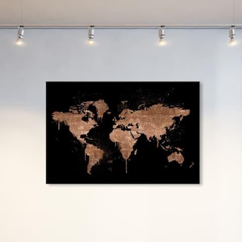 Oliver Gal Maps and Flags Wall Art Canvas Prints 'Mapamundi Copper New' World Maps - Bronze, Black
