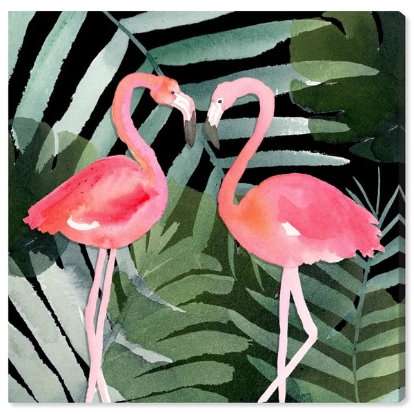 Shop Oliver Gal Animals Wall Art Canvas Prints Pinkest Love Black Birds Pink Green Free Shipping Today Overstock 30765546