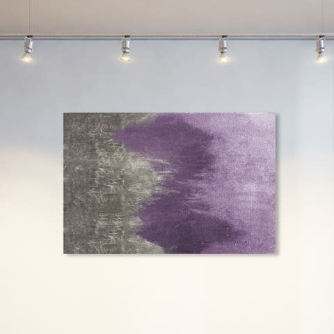 Oliver Gal Abstract Wall Art Canvas Prints 'Amethyst Waves' Watercolor - Purple, Gray