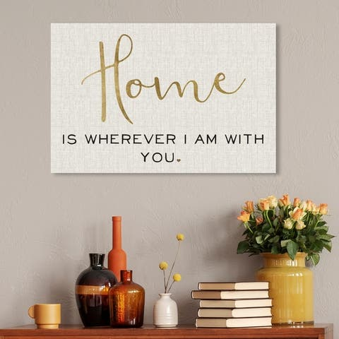 Oliver Gal Typography and Quotes Wall Art Canvas Prints 'Home Is with You' Family Quotes and Sayings - Gold, Brown