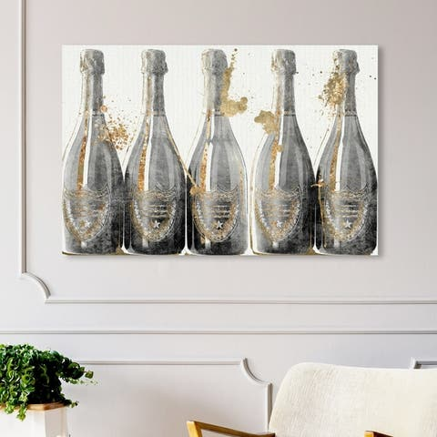 Oliver Gal Drinks and Spirits Wall Art Canvas Prints 'Dom Marbles 1988' Champagne - Gold, Gray