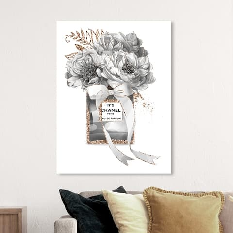 Oliver Gal Fashion and Glam Wall Art Canvas Prints 'Grey Floral Potpourri' Perfumes - Black, White