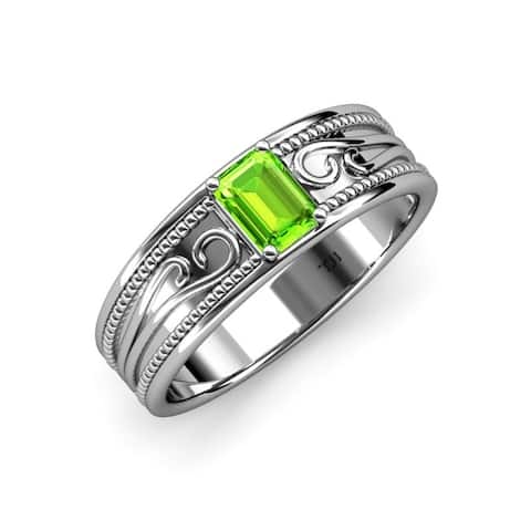 Trijewels Emerald Cut Peridot 7/8 ctw Promise Ring 14KW Gold