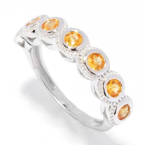 Sterling Silver 0.91ctw Seven Stone Spessertite Garnet Band Ring