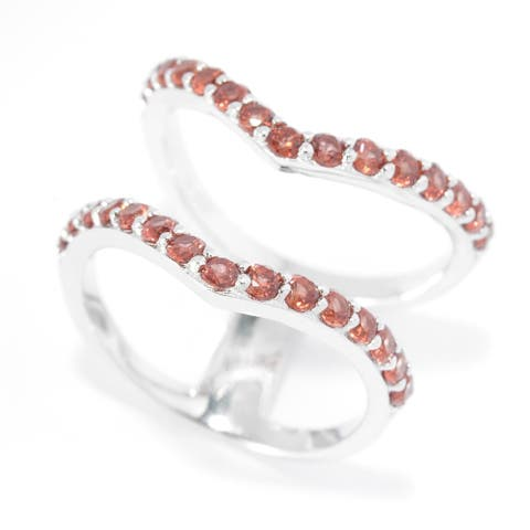 Pinctore Sterling Silver Two-Row Split 1.32ctw Red Garnet Chevron Ring