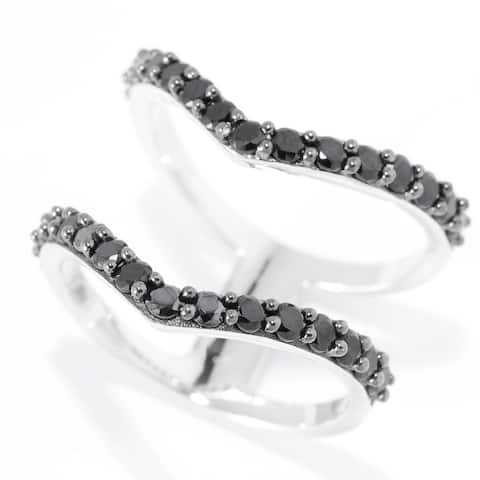 Pinctore Platinum o/Silver Two-Row Split 1.35ctw Black Spinel Chevron Ring