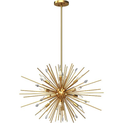 Alice 12-Light Indoor Antique Gold Down Rod Chandelier