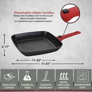 Infito Forged Aluminum Non-Stick Square Grill Pan w/ Detachable Handle