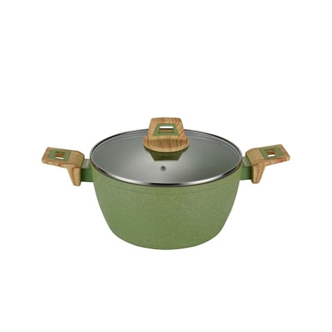 "Olive Stone 9.5"" Round Casserole Pan with Glass Lid - Avocado Green"
