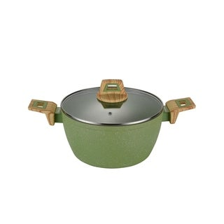 """Olive Stone 9.5"""" Round Casserole Pan with Glass Lid - Avocado Green"""