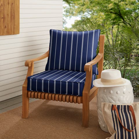 Striped Navy Deep Seating Corded Chair Pillow and Cushion Set by Havenside Home