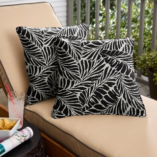 Black Leaves Corded Square Pillows (Set of 2) by Havenside Home