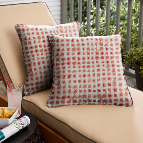 Geometric Coral Corded Square Pillows (Set of 2) by Havenside Home
