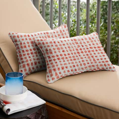 Geometric Coral Corded Lumbar Pillows (Set of 2) by Havenside Home