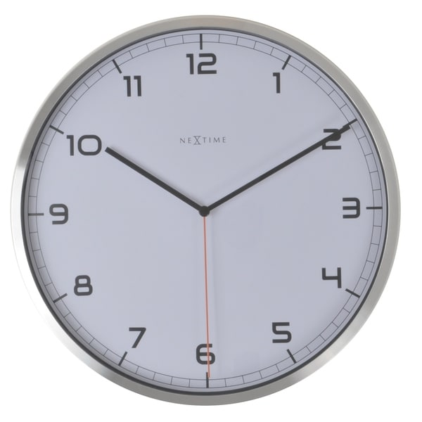 Unek Goods NeXtime Company Aluminum Wall Clock, Round, White Face with Black Numbers, Battery Operated