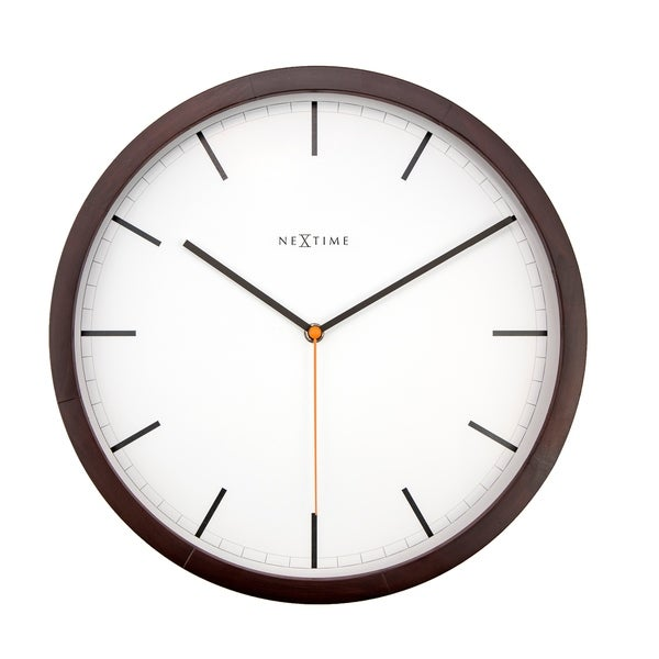 Unek Goods NeXtime Company Wooden Wall Clock, Chocolate Dark Color, Round, Decorative, Battery Operated