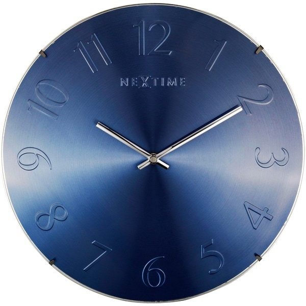 Unek Goods NeXtime Elegant Dome Wall Clock, Round, Glass, Metal Dial, Blue Metallic, Battery Operated