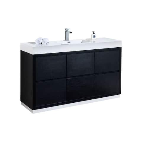 """Bliss 60"""" Single Sink Black Free Standing Modern Bathroom Vanity"""
