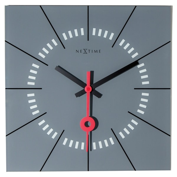 Unek Goods NeXtime Stazione Wall Clock, Square, Glass, Grey Face with Black and Red Hands, Battery Operated