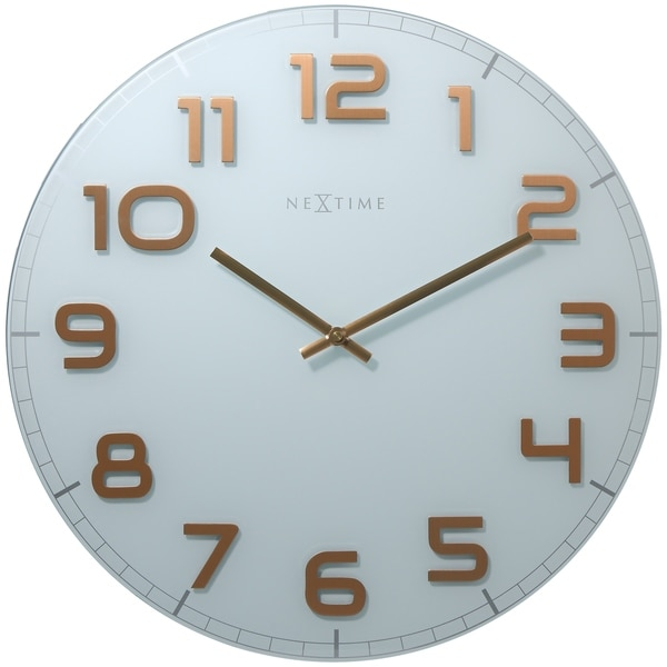 Unek Goods NeXtime Classy Round Large Wall Clock, White, Decorative, Shiny Copper Big Numbers, Glass, Battery Operated