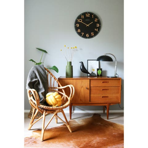 Unek Goods NeXtime Classy Large Round Wall Clock, Black, Decorative, Shiny Copper Big Numbers, Glass, Battery Operated