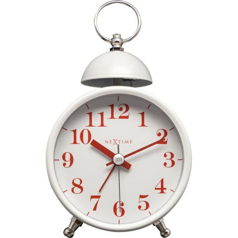 Unek Goods NeXtime Single Bell Table Top Alarm Clock, Metal, White Face, Red Numbers, Battery Operated