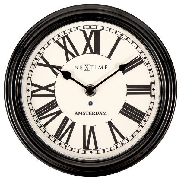 Unek Goods NeXtime Round Amsterdam Clock, Black Frame, Ivory Face, Black Roman Numerals, Battery Operated