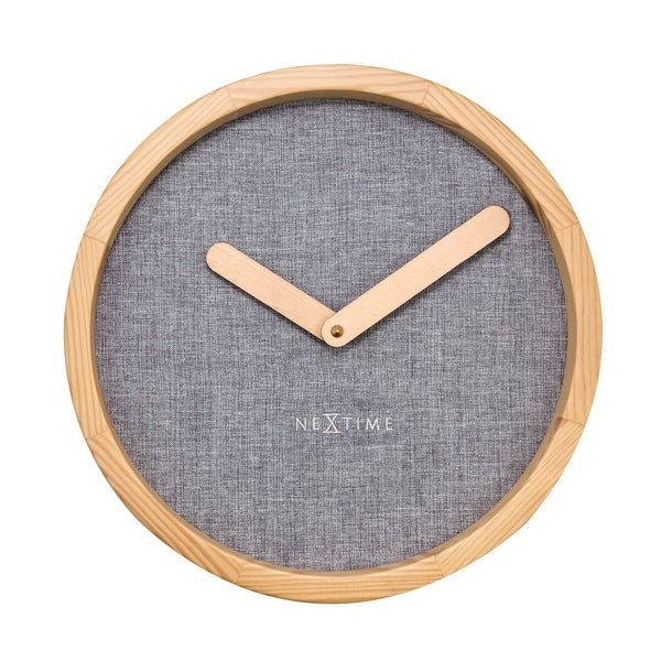 Unek Goods NeXtime Calm Wall Clock, Round, Natural Wood Frame and Hands, Soft Grey Fabric Face, Battery Operated