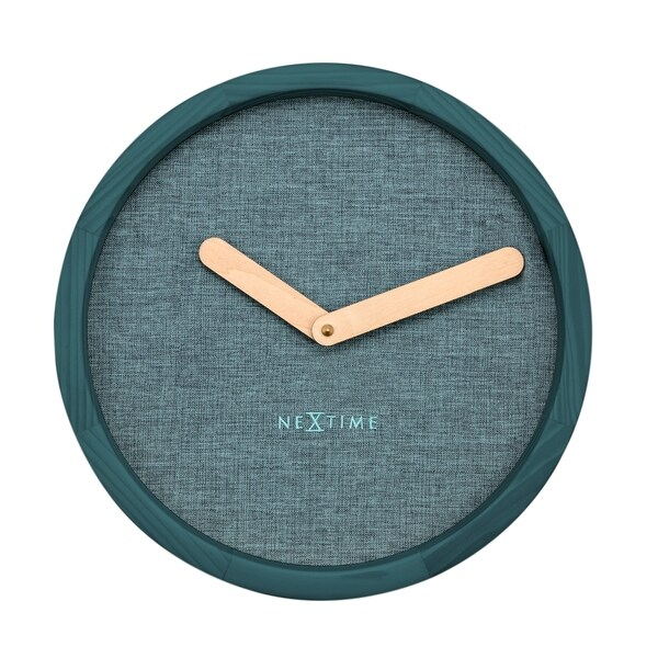 Unek Goods NeXtime Calm Wall Clock, Round, Natural Wood Frame and Hands, Turquoise Fabric Face, Battery Operated