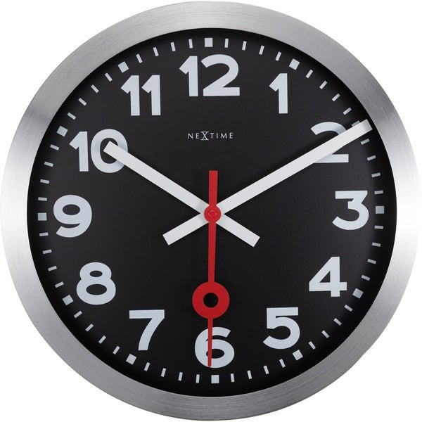 Unek Goods NeXtime Station Wall Clock/Table Clock, Round, Aluminum Frame, Black Face, Battery Operated