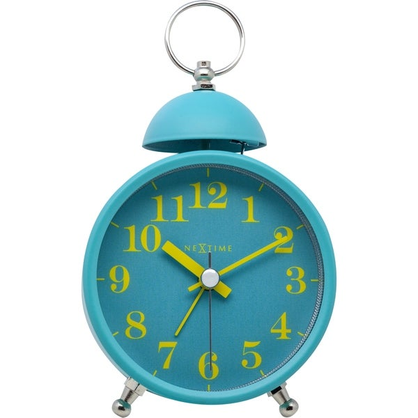 Unek Goods NeXtime Single Bell Table Top Alarm Clock, Metal, Turquoise Face, Yellow Numbers, Battery Operated